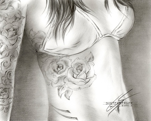 To cover up my rib cage tattoo... Colored in red roses