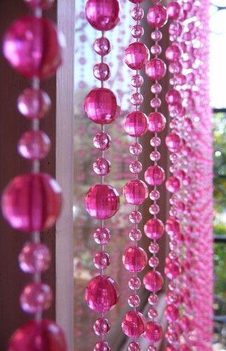 6u0027 Beaded Curtain    Hot Pink Mini Balls