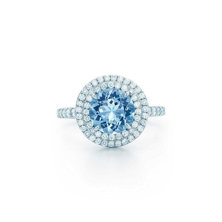 Tiffany Soleste® ring in platinum with a .70-carat aquamarine and diamonds.