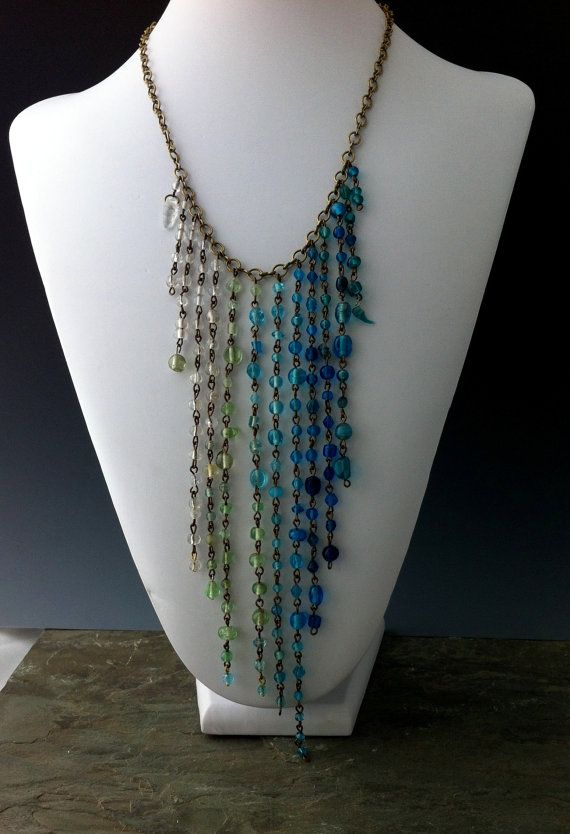 Tropical Rain Necklace Glass Drops Cascade by LuxVivensFashion