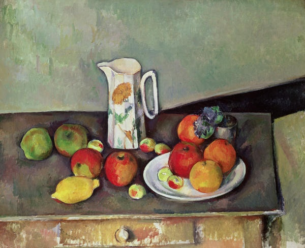 Paul Cezanne, Still life with milkjug and fruit, c.1886-90