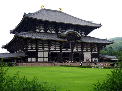 Todai-ji Hall, Nara, Honshu, Japan.  The Todai-ji Hall is the world's largest wooden building and would be amazing to see!