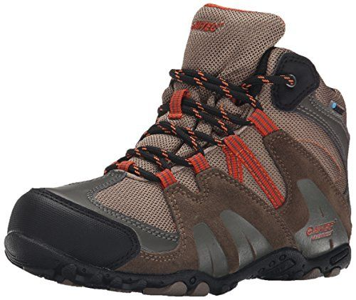 HiTec Aitana Mid Waterproof JR Hiking Shoe ToddlerLittle KidBig Kid Smokey BrownTaupeRed Rock 1 M US Little Kid >>> Details can be found by clicking on the image.