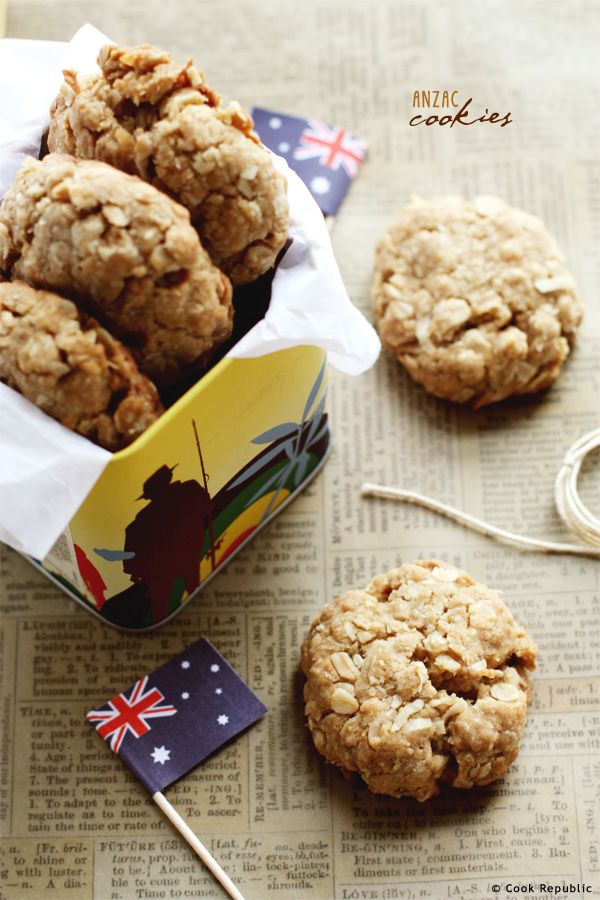Anzac Cookies1 cup plain flour 1 cup dessicated coconut 1 cup rolled oats 2/3 cup brown sugar 125g butter 1 tablespoon golden syrup 1 tablespoon manuka honey (or any other kind) 1/2 teaspoon bicarbonate of soda 1 tablespoon boiling water - See more at: http://www.cookrepublic.com/cookie-recipes/anzac-cookies/#sthash.xrkC5p2h.dpuf