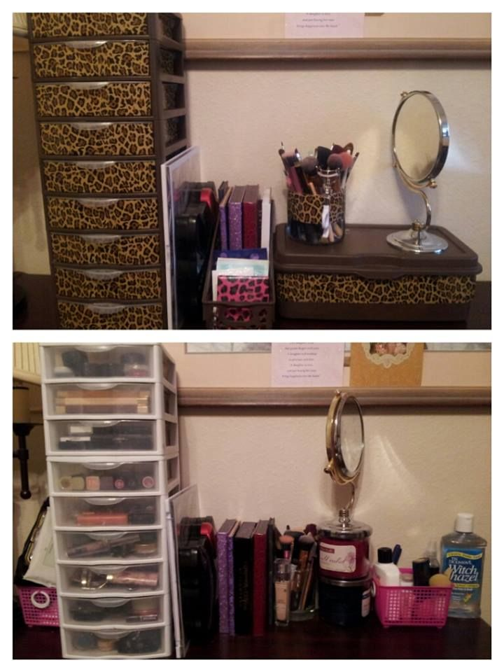 DIY Makeup storage. Decorate Sterilite Mini 3 drawer storage by painting with Kryolan Fusion for plastic spray paint and designer Duct Tape