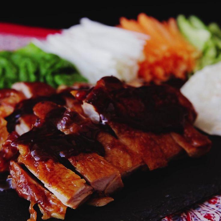 How to make Peking Chicken Tianmianjiang. Ingredients: 1 chicken thigh, boneless, 1 tbsp sesame oil, Salt, Pepper, 1/2 Japanese Negi (or Welsh onion), 1/2 cucumber, 1/3 carrot, 10-12 gyoza wrappers, Tianmianjiang (sweet bean sauce), (Sauce), 1 tbsp Tianmianjiang, 1 tbsp soy sauce, 1 tbsp honey, 1 tbsp sake, 1 tbsp mirin, 1/2 clove garlic, grated