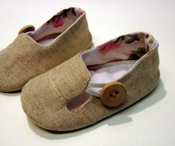 Linen loafers with a button! I have an obession with baby shoes, I think.