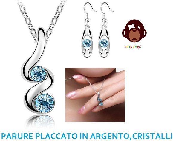 parure set orecchini e collana,cristallo azzurro oceano,placcato in argento.
