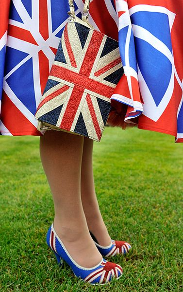 Ladies Day at Royal Ascot  2012: lady in Union Jack Attire. Love the purse!