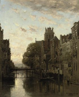 A View of the Voorstraathaven with the Grote Kerk Beyond, Dordrecht - Johannes Christiaan Karel Klinkenberg (1852-1924)