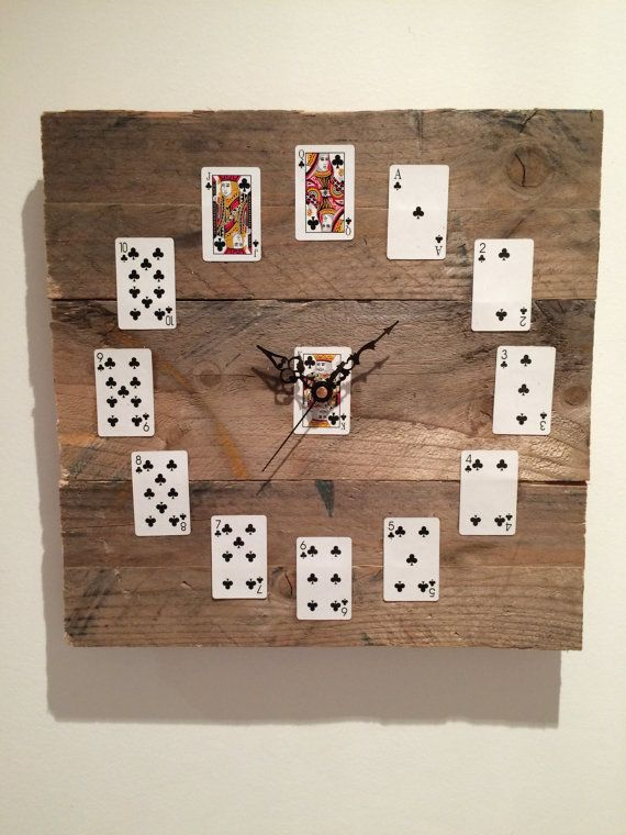 Playing card reclaimed pallet wood clock by NessDoesUpcycle