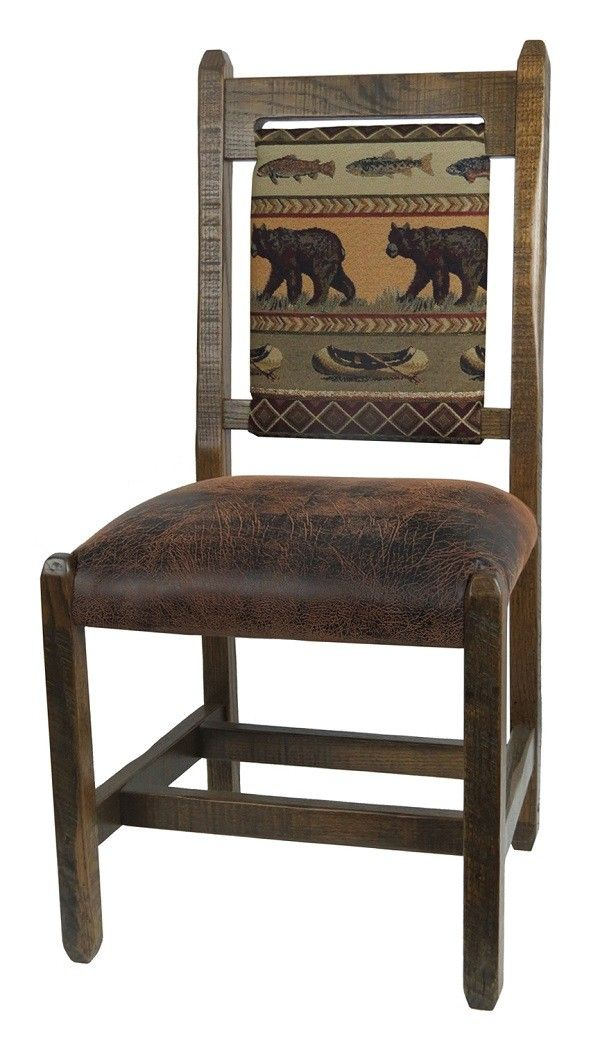 Barnwood Dining Chair With Upholstered Back And Seat   Bear Creek Fabric