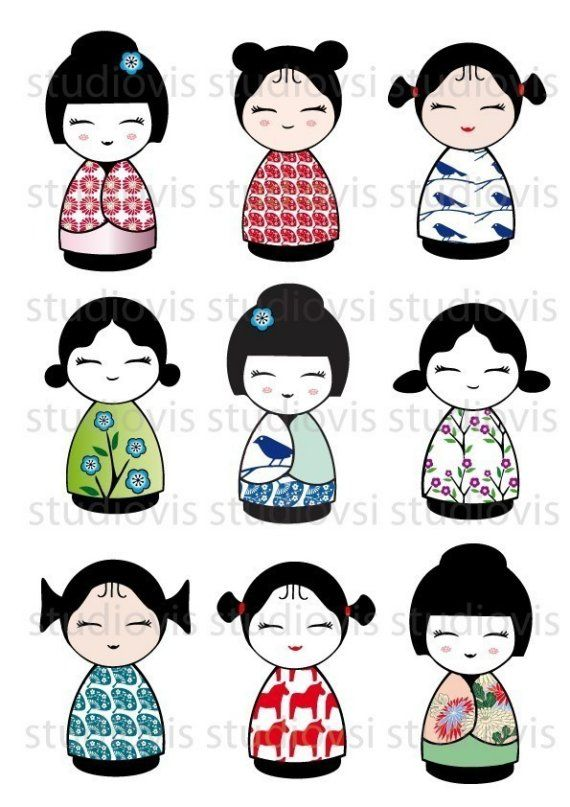kokeshi dolls. Do in clay, add beaded embellishments. Make jewelry sets.