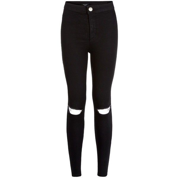 Petite 28in Black Ripped Knee Disco Jeans ($35) ❤ liked on Polyvore featuring jeans, pants, bottoms, black, calças, petite, black distressed jeans, black jeans, torn skinny jeans and ripped jeans