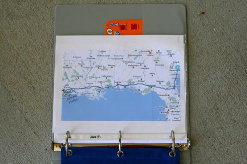 """Print out a map and draw your progress along the way.  An excellent way to answer the question """"Are we there yet?"""" and help kids understand where they are in relation to our destination.  May even teach some map reading skills!"""