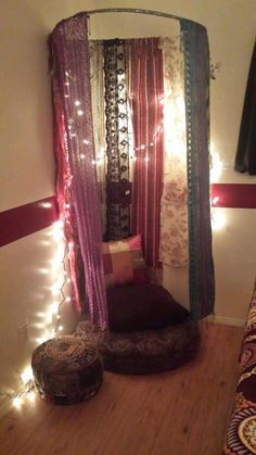Creating personal space (super easy!) -Tie some yarn (or what you have) to a hula hoop -Attach some scarfs with safety pins, or however. -Secure it to the ceiling (I used a screw, and it's not in a...