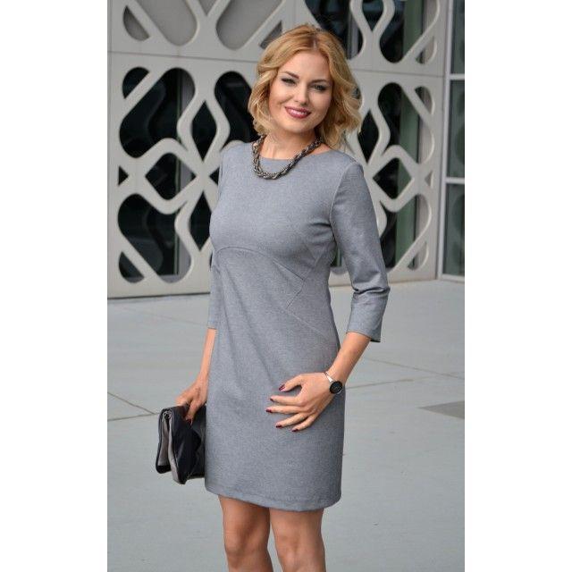 Szara wyszczuplająca, geometryczna sukienka do pracy lub eleganckie wyjście.   145 zł  Gray geometric business dress