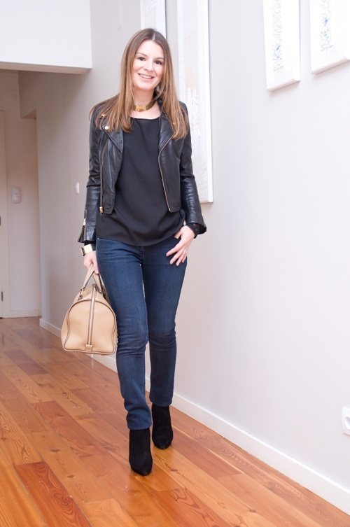 : Spinach Salad, Fashion Style, Fashion Merchandis, Casual Fall, Avocado Chicken, Black Outfit, Jeans Outfit, Design Bags, Leather Jackets