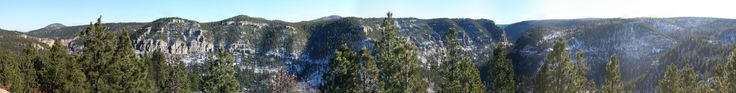 Panorama - Spearfish Canyon from the top of the '76 Trail Black Hills SD [OC] [7216x915]