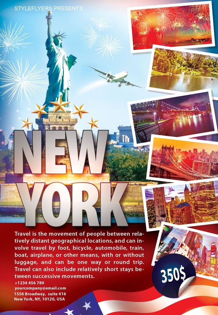 free travel new york flyer psd template by is the best way to promote your travel. Black Bedroom Furniture Sets. Home Design Ideas