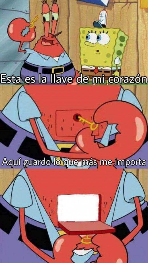 Generador de Memes online - Plantillas para memes 2017 - Plantilla - Bob Esponja - La llave de mi corazón