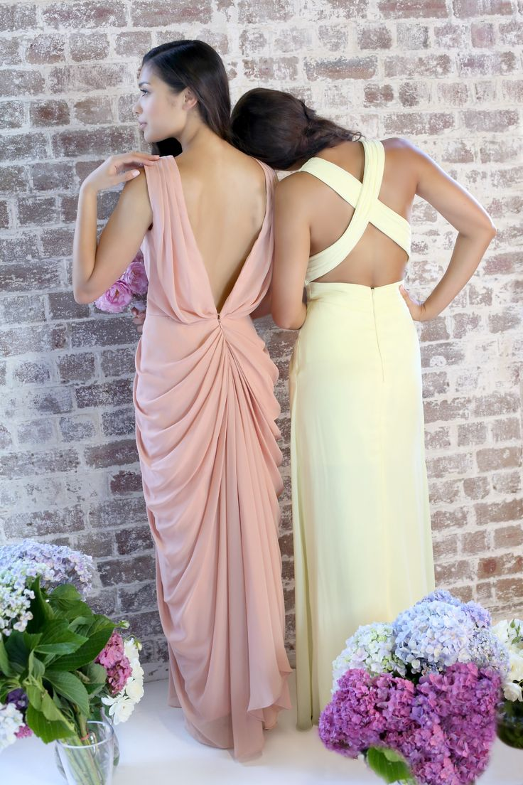 Stunning backs for unique Bridesmaids. Left dress ANGELINA www.stylaandco.com.au/angelina/ Right dress MIRANDA www.stylaandco.com.au/miranda/