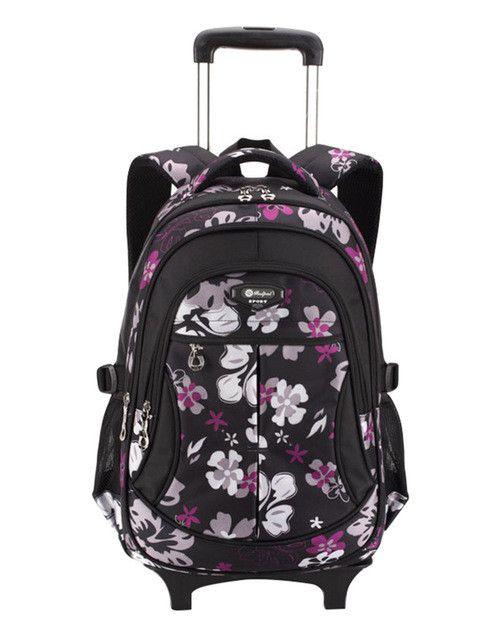 Hot Waterproof Boys Trolley School Bag Classic Travel Luggage Suitcase On Wheels Kids Rolling Backpack girl Book Bags Detachable
