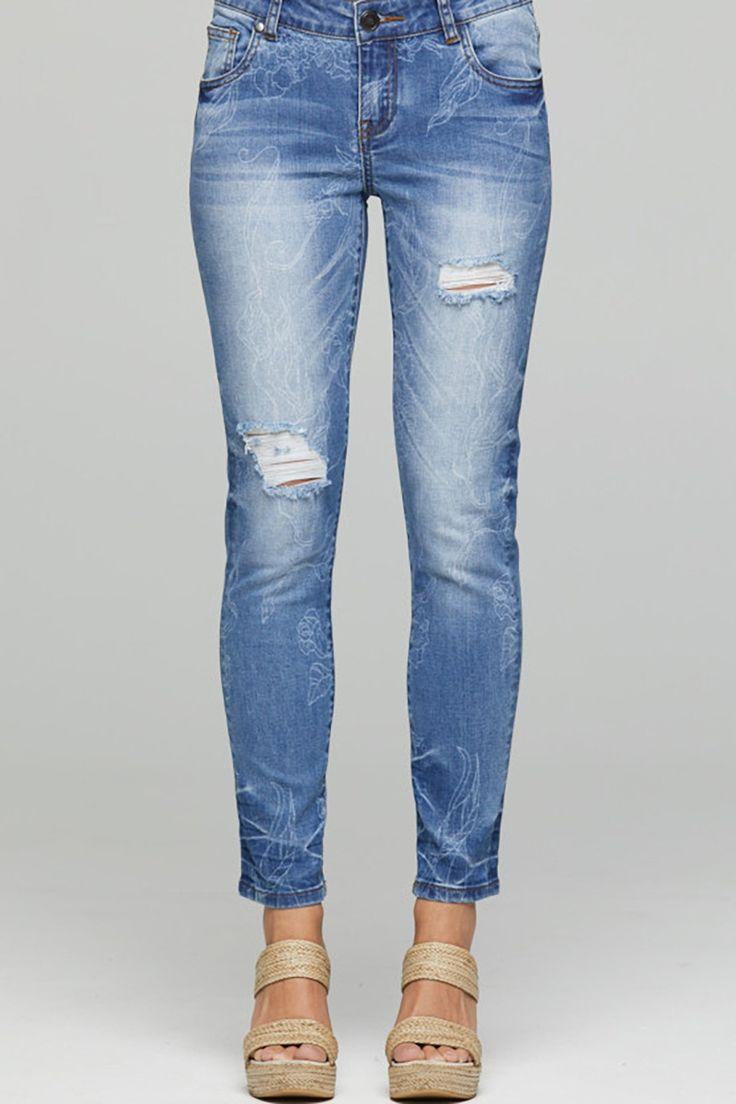 New London - Finchley Stencil Taper Capri Jeans