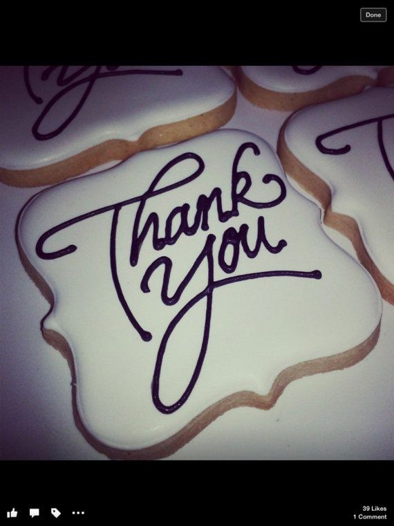 Decorated Thank You Sugar Cookies by SugarMamabyKim on Etsy