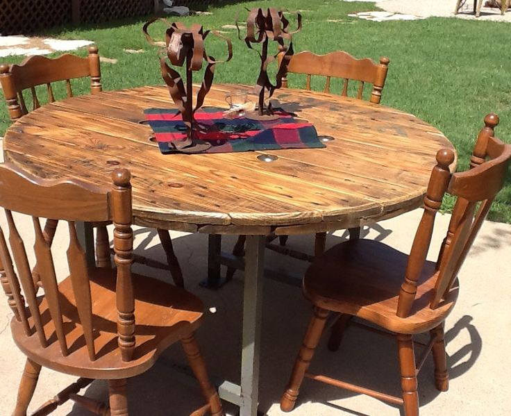 Cable reel tables more industrial metal rustic for Wooden reel furniture