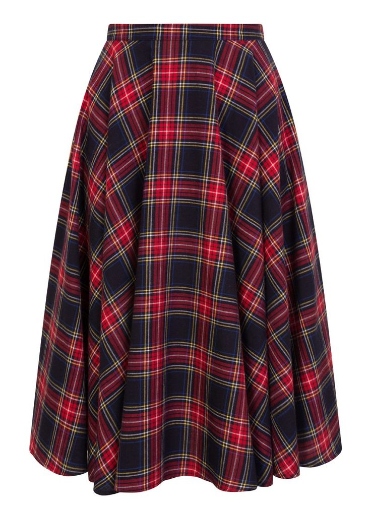 The Shirley Tartan Full Circle Skirt is a 100% cotton checked mid-length tartan skirt with hip pockets, a discreet zipped back and a full circle design.