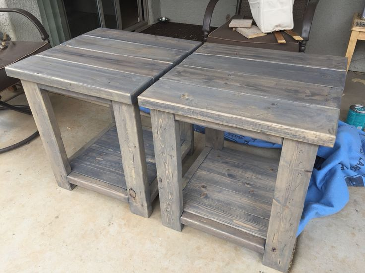2x4 end tables made from scrap left over pieces. Boards are screwed together hidden using a Kreg tool found at Hope Depot. Simple project. Check out Created By Two on Facebook to see more of our projects that we sell.   https://m.facebook.com/Createdbytwo?ref=bookmarks