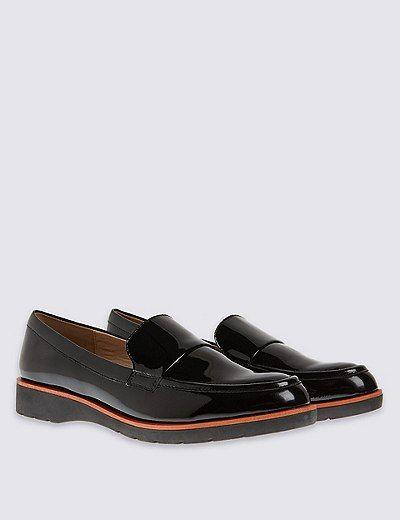 Leather Block Heel Loafers   Marks & Spencer London