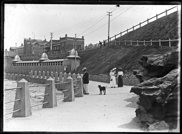 Newcastle Beach and promenade, Newcastle, NSW, 12 February 1912. This image was scanned from the original glass negative taken by Ralph Snowball. It is part of the Norm Barney Photographic Collection, held by Cultural Collections at the University of Newcastle, NSW, Australia.  v@e.