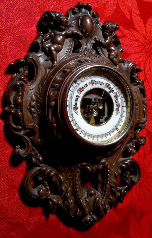 Rare Antique Victorian Cherub Putti Gutta Percha Thermoplastic Wall Barometer