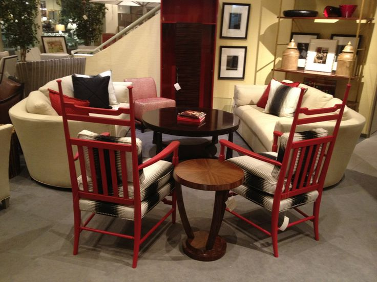 Hoff Miller Specified Match Panel Red Lacquer Paint For This Pair Of  Country Occasional Chairs From The Archive Collection.
