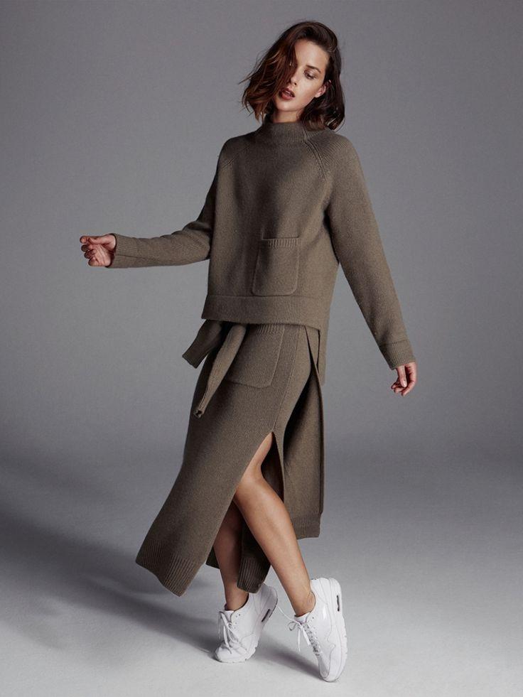 Joseph Khaki knitwear and white sneakers  | HarperandHarley