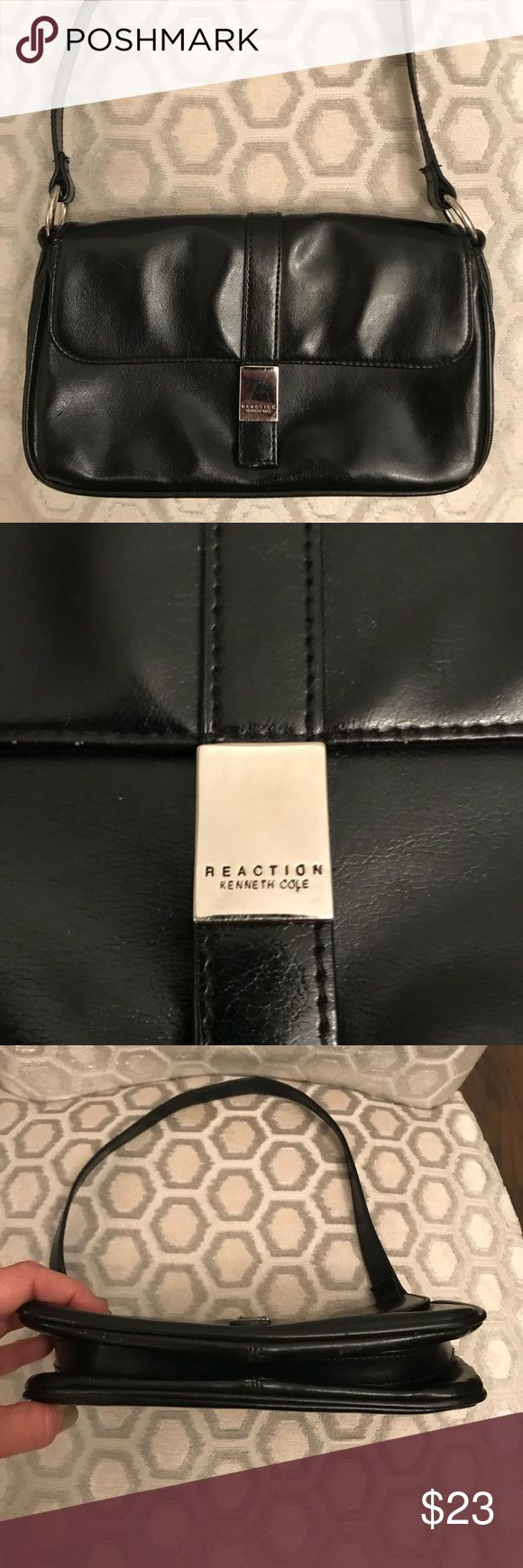 Kenneth Cole Reaction Mini Black Silver Tote Bag Man made.  Good condition.  Light wear on under strap and on hardware. Kenneth Cole Reaction Bags Totes