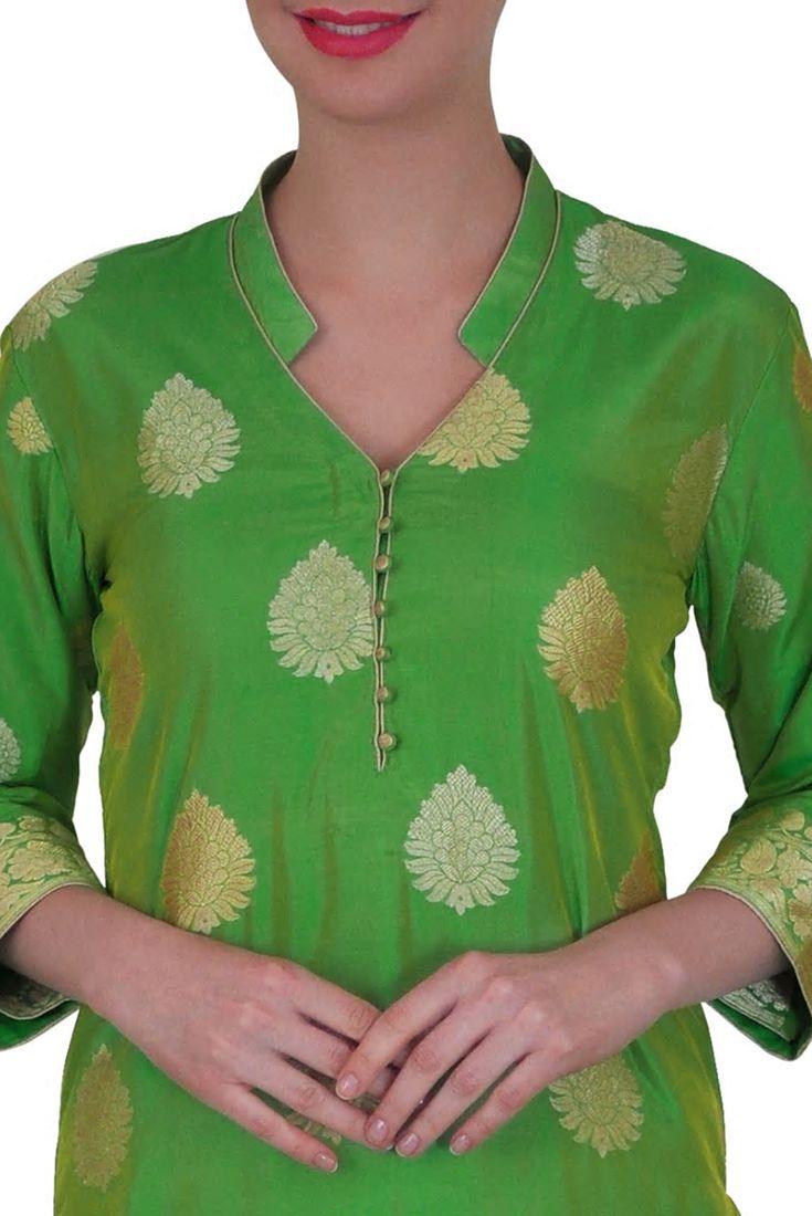 Green Pure Silk Handwoven Banarasi Kadhwa Zari Suit with Dupatta