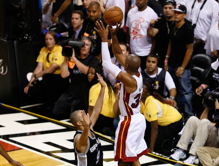 2013 ESPYS Awards - BEST GAME --- Ray Allen - Miami Heat v San Antonio Spurs: Game 6 ... Ray Allen #34 of the Miami Heat makes a game-tying three-pointer over Tony Parker #9 of the San Antonio Spurs in the fourth quarter during Game Six of the 2013 NBA Finals at American Airlines Arena on June 18, 2013 in Miami, Florida. #MiracleGame6 7/17/13