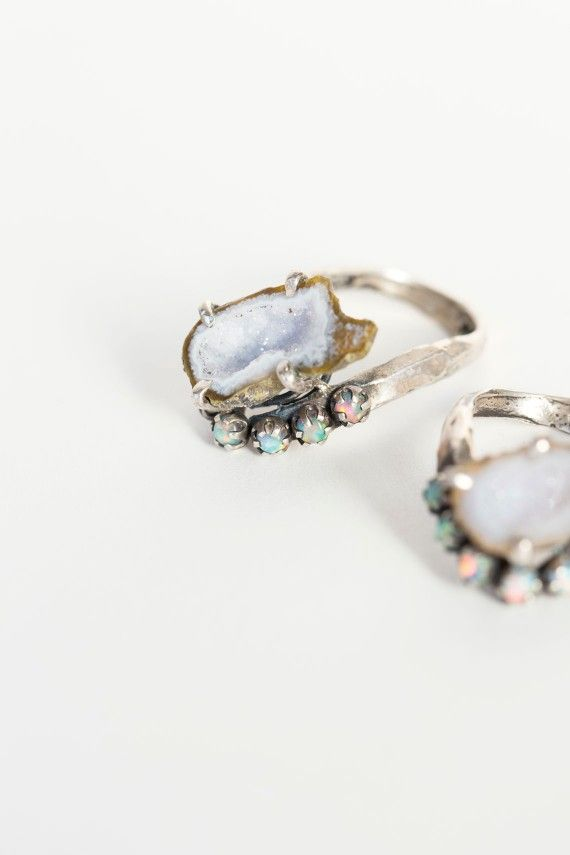 Unearthen - Silver Geode Lune Ring | BONA DRAG