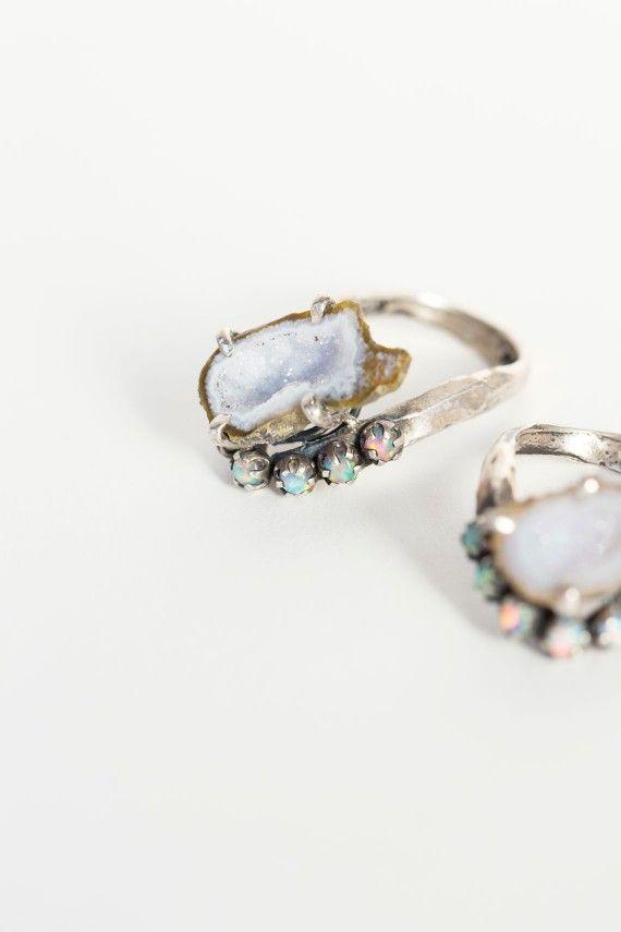 Unearthen - Silver Geode Lune Ring | BONA DRAG