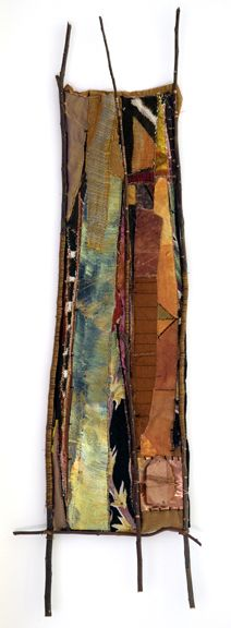 "14"" X 35""; found, embellished textiles, new fabrics, willow branch, copper wire, stone"