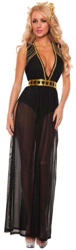 Sexy Cleopatra Black Goddess Egyptian Greek Halloween Costume Outfit S/Small #CompleteOutfit #Halloween