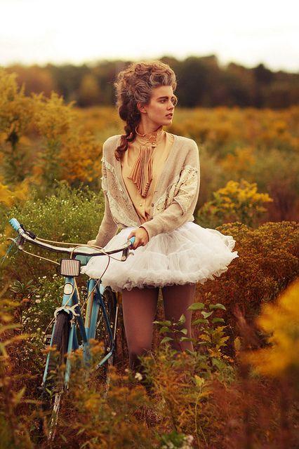 Bicycle + Tutu + Marie Antoinette hair = Perfection.