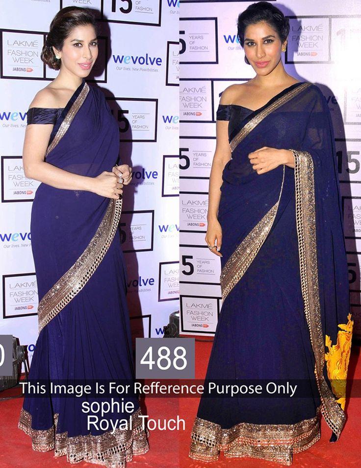 Sophie Choudry Georgette Border Work Blue Bollywood Designer Saree - 488BS