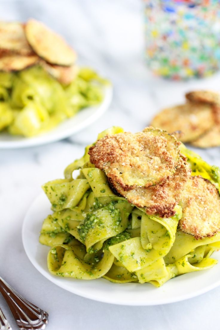 Fried Zucchini and Mint Pistachio Pesto Pappardelle Pasta | Recipe