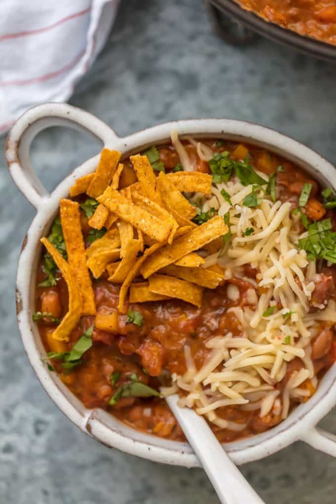 This REALLY GOOD VEGETARIAN CHILI will knock your meat loving socks off. This healthy chili has all the flavor and is made entirely of vegetables. SO GOOD.