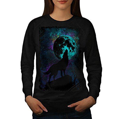Hurlement Loup Pack Sauvage Femme NOUVEAU Noir M Sweat-Shirt | Wellcoda: Cet article Hurlement Loup Pack Sauvage Femme NOUVEAU Noir M…