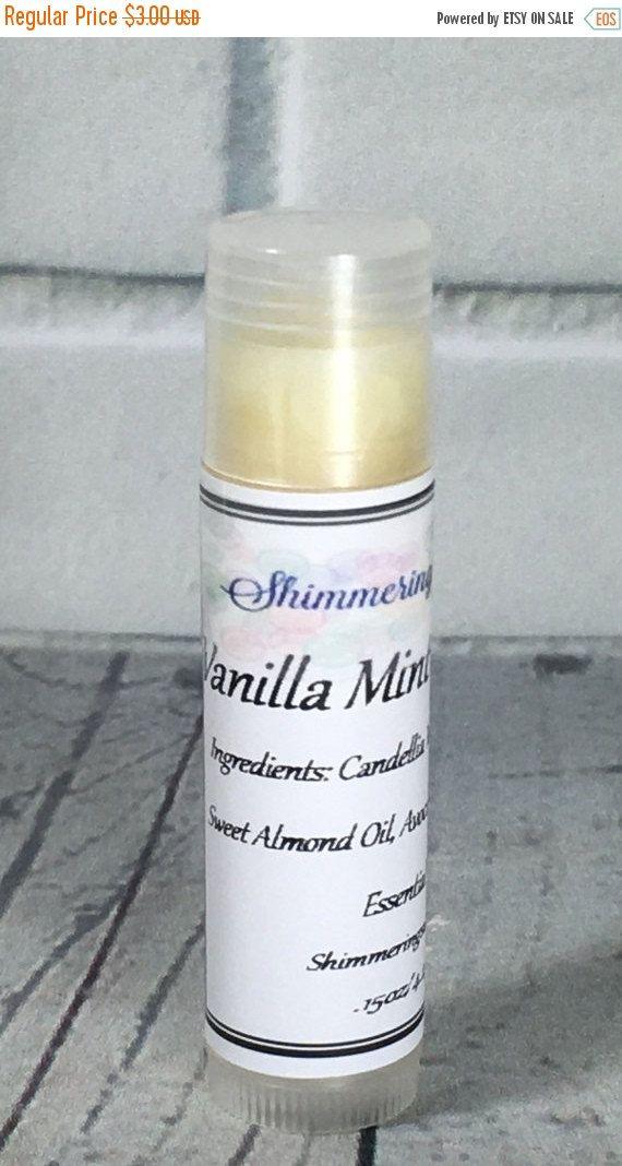 Vanilla Mint Lip Balm, Vanilla Lip Balm, Mint Lip Balm, Vegan Lip Balm, Flavored Lip Balm One .15oz Lip Balm Tube